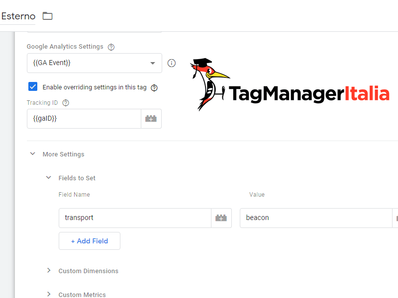 Attivare modalità beacon in tag universal analytics con Google Tag Manager