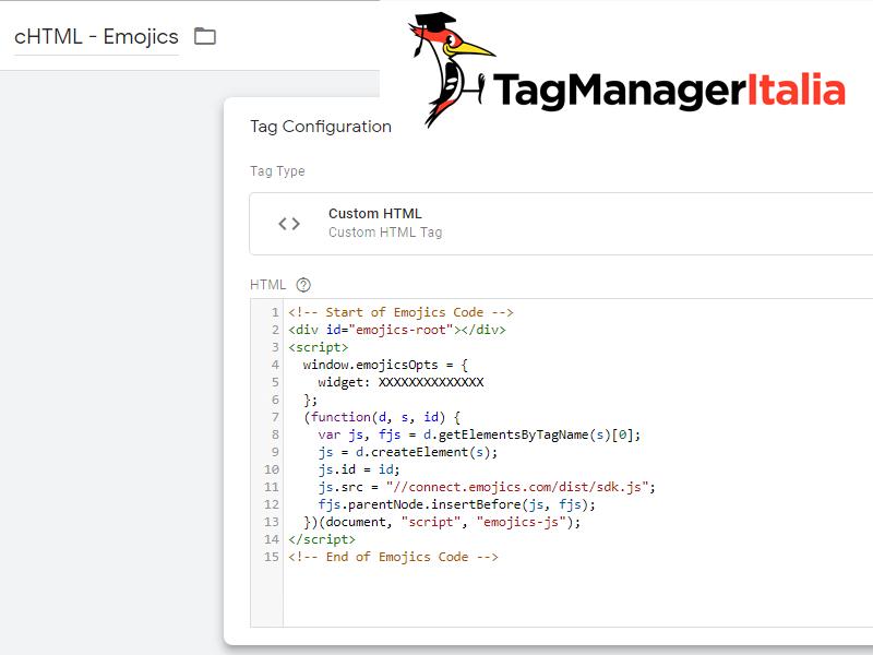 Emojics Html personalizato Google Tag Manager