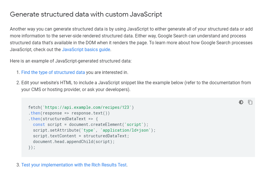 Generate structured data with custom JavaScript