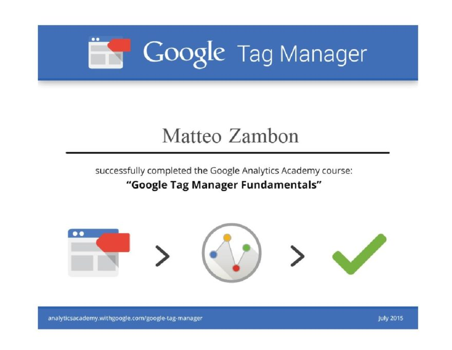 Google Tag Manager Fundamentals Certificato 2015