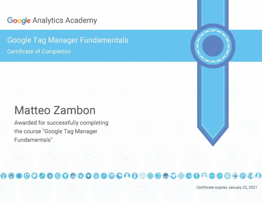 Google Tag Manager Fundamentals Certificato 2019