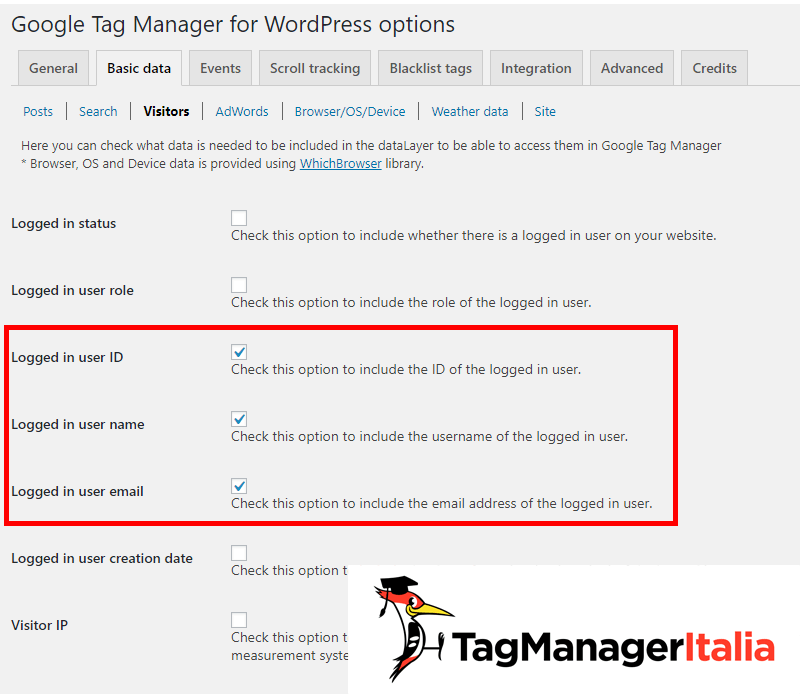 Google Tag Manager for WordPress plugin flag user info