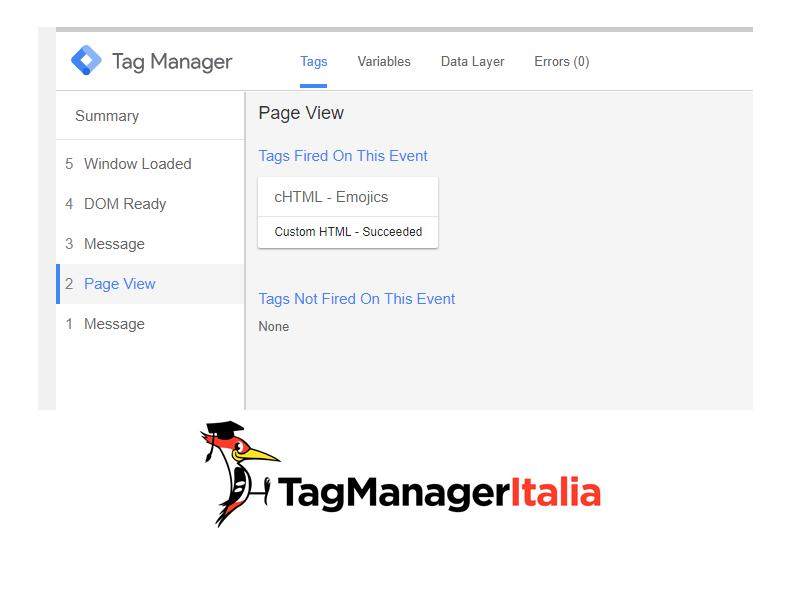 Verifica Emojics console Google Tag Manager