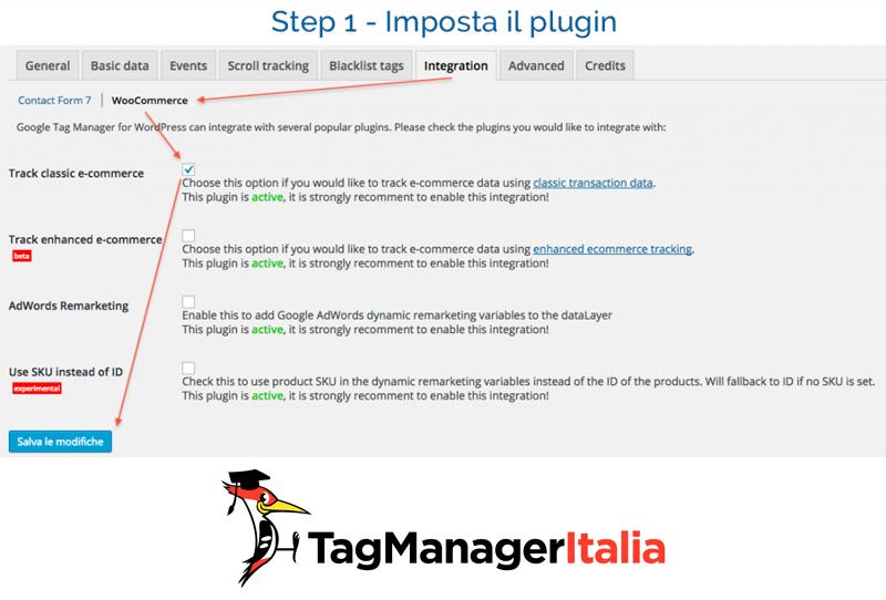 abilitare tracciamento ecommerce woocommerce con google tag manager 0