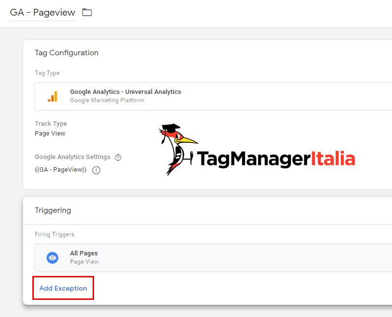 aggiungi eccezione google tag manager