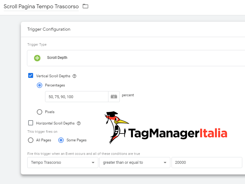 attivatore scroll tempo trascorso google tag manager
