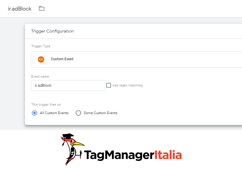 attivatore tracciare adblock analytics google tag manager