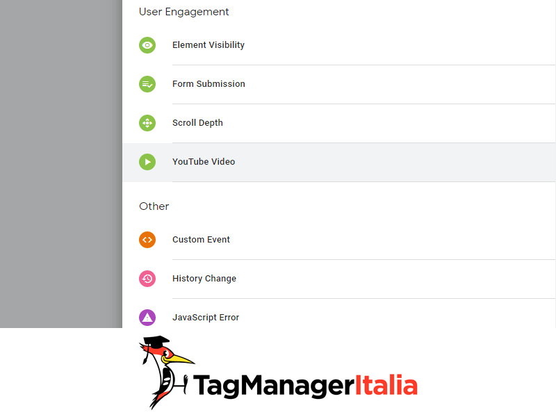 attivatore youtube google tag manager