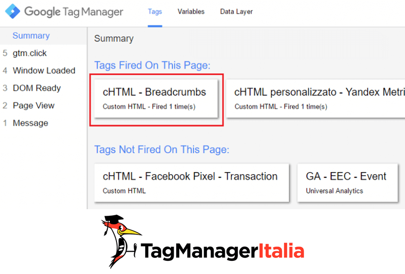 breadcrumbs google tag manager anteprima