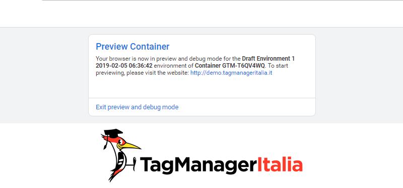 condividere modalità anteprima google tag manager4