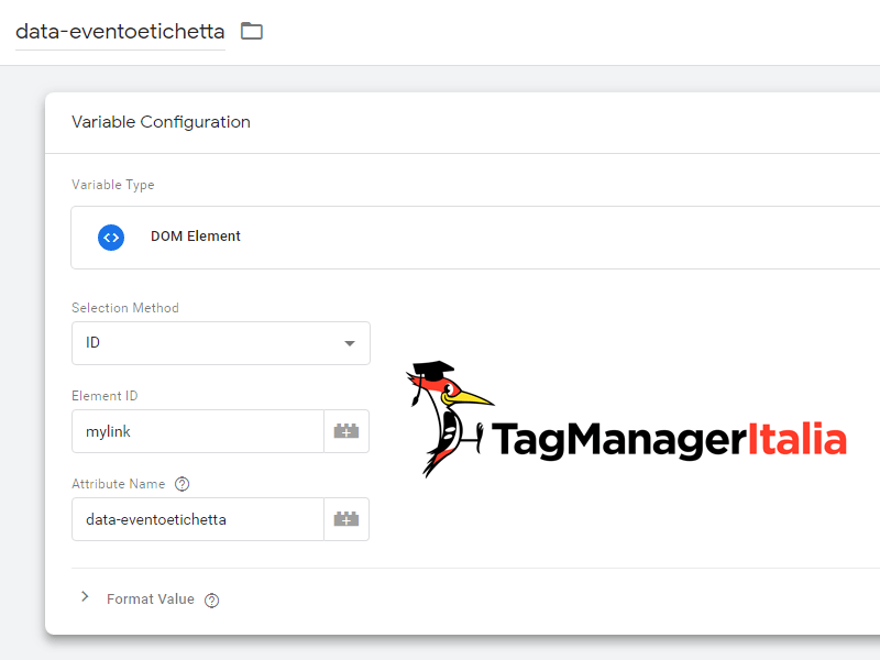 data eventoetichetta google tag manager