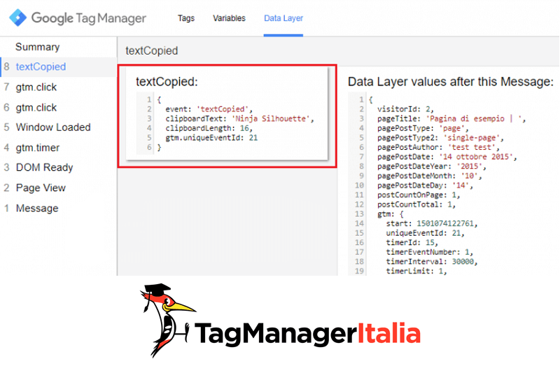 datalayer tracciare copia testo google tag manager