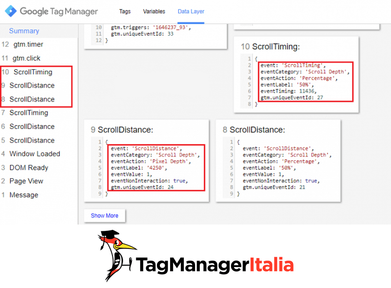 datalayer tracciare scroll pagina google tag manager