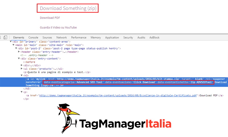 elemento html download zip google tag manager