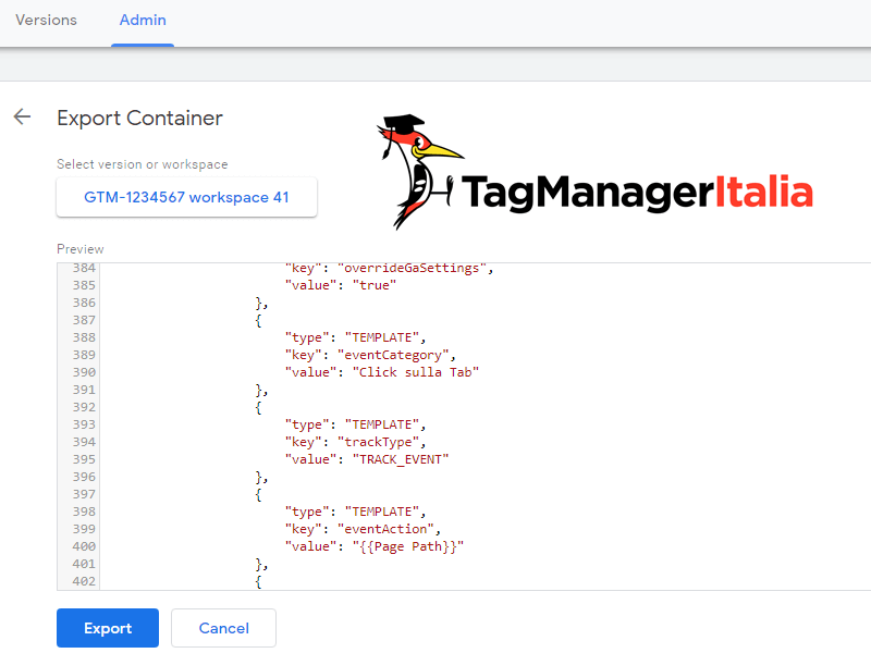 esporta contenitore google tag manager