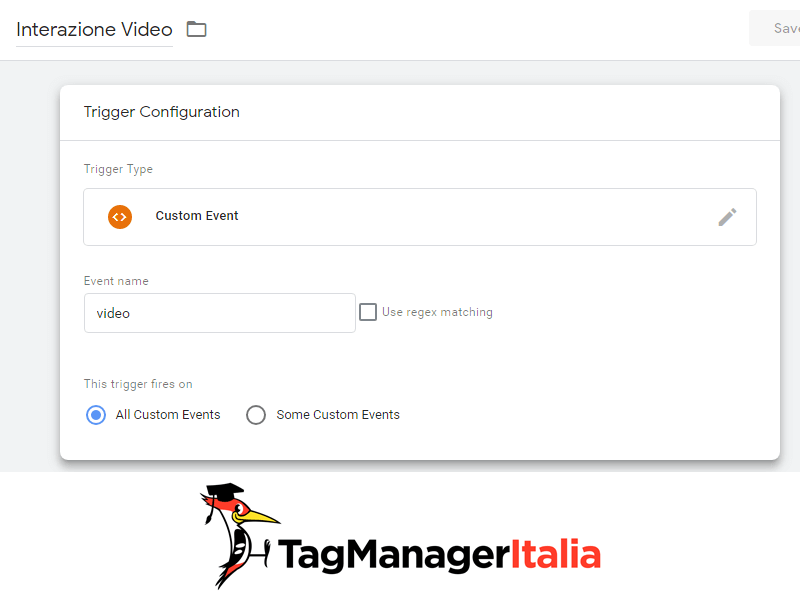 evento personalizzato video html5 google tag manager