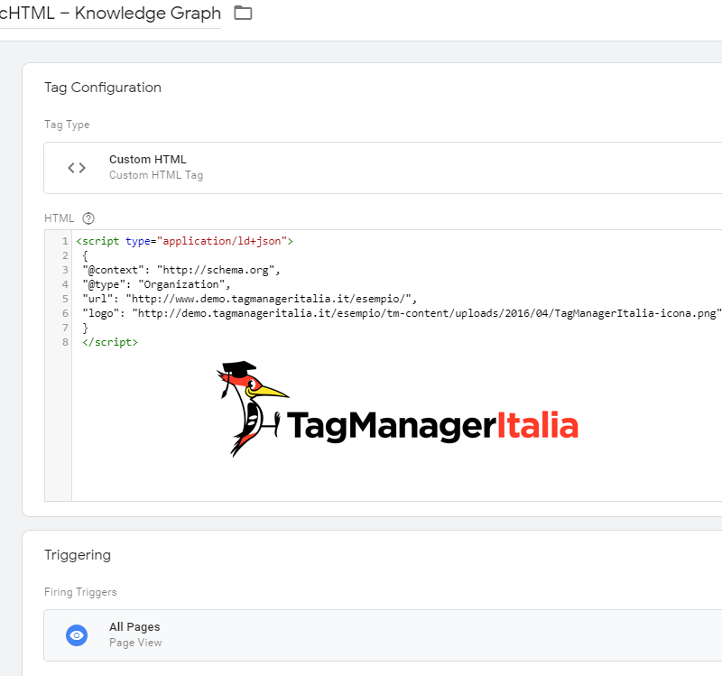 knowledge graph google tag manager