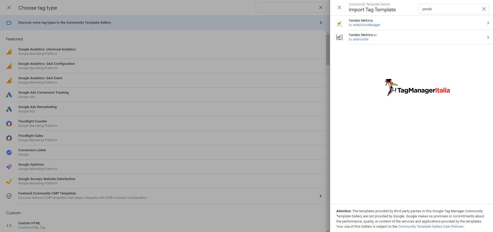 modello yandex in google tag manager