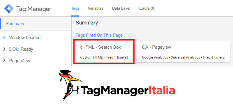 search box google tag manager anteprima