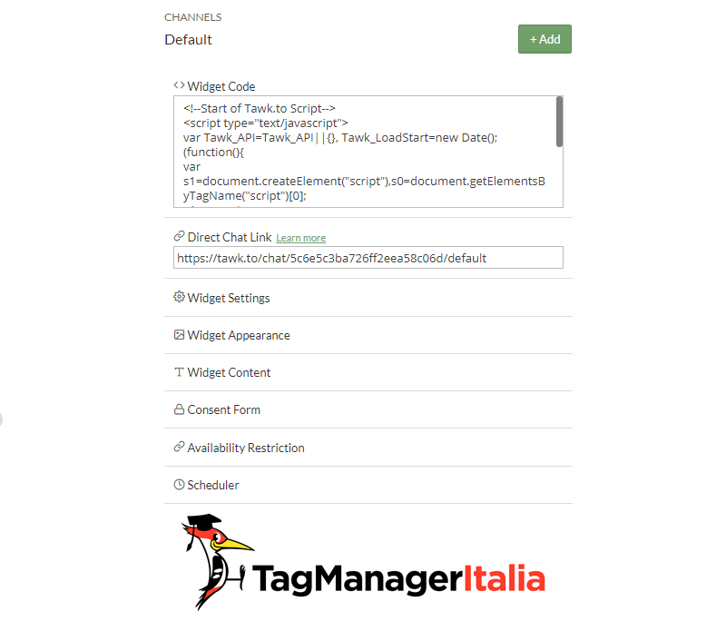 snippet live chat google tag manager