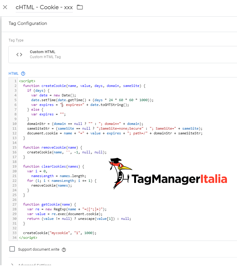 tag HTML come creare cookie con google tag manager