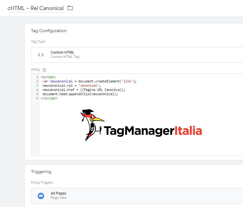 tag aggiungere rel canonical google tag manager