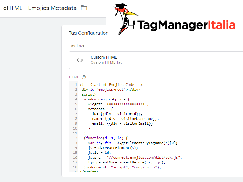 tag emojics metadata custom html google tag manager