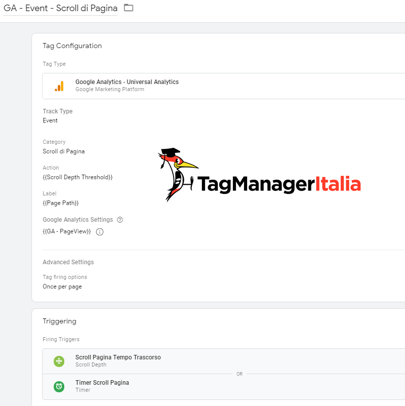tag evento tempo trascorso scroll google tag manager