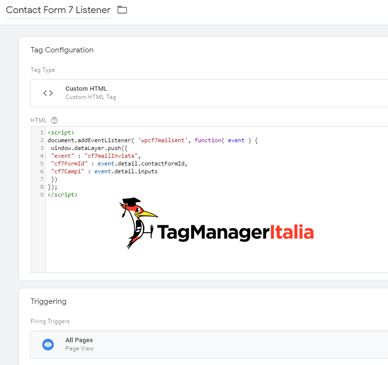 tag html contact form google tag manager
