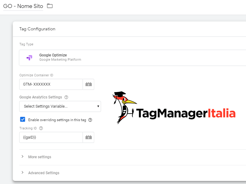 tag installare google optimize google tag manager