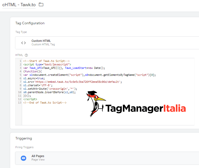 tag installazione tawk.to live chat google tag manager