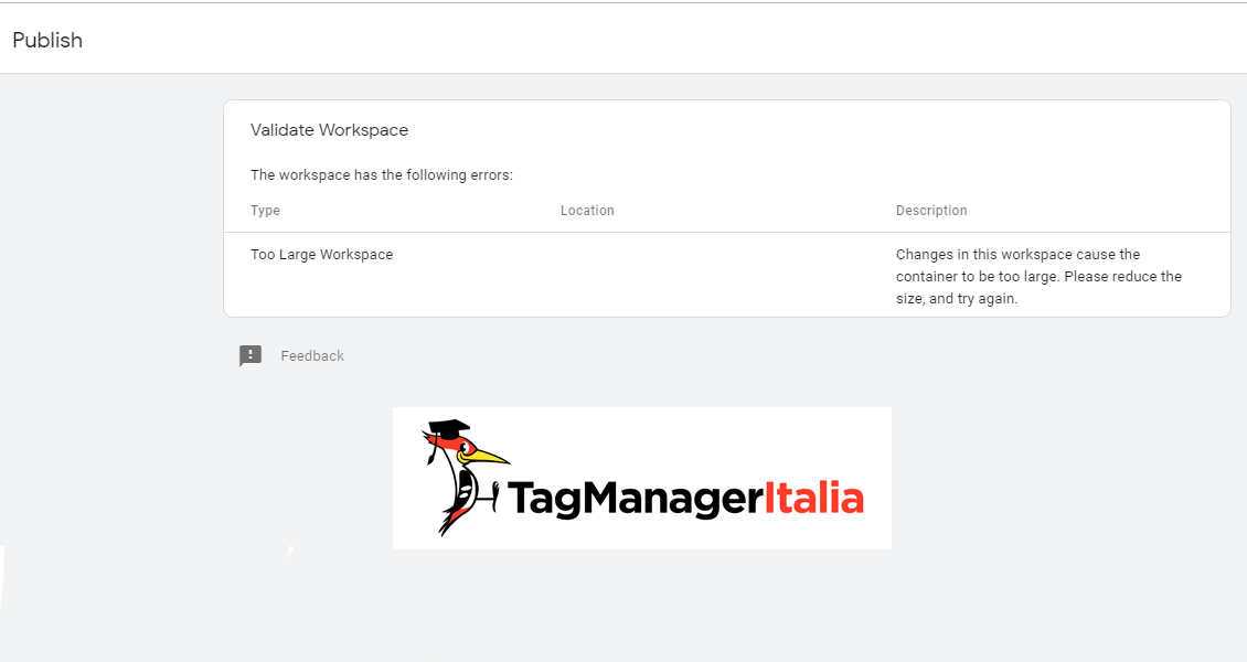 tag manager error publish limit size
