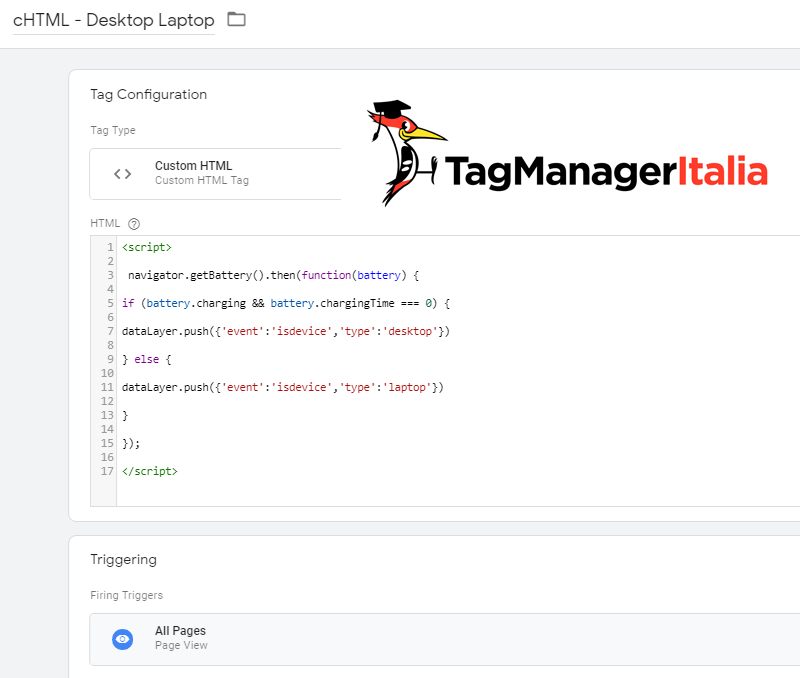tag tracciare desktop laptop analytics google tag manager