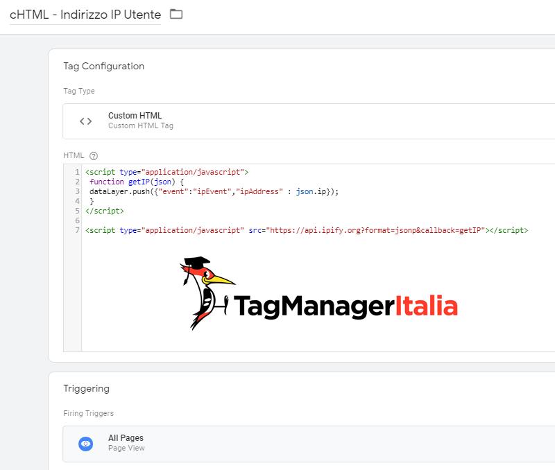 tag tracciare indirizzo ip google tag manager