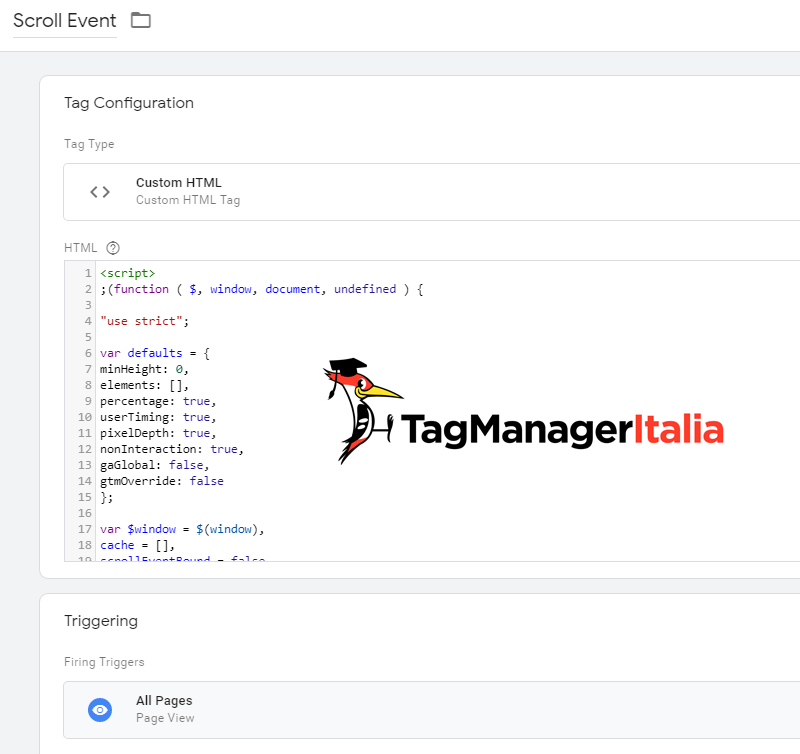 tag tracciare scroll pagina google tag manager