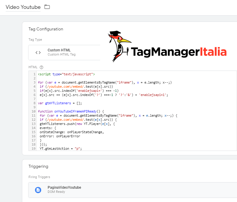 tag tracciare video youtube embeddati google tag manager