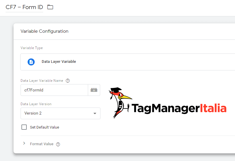 variabile contact form id google tag manager