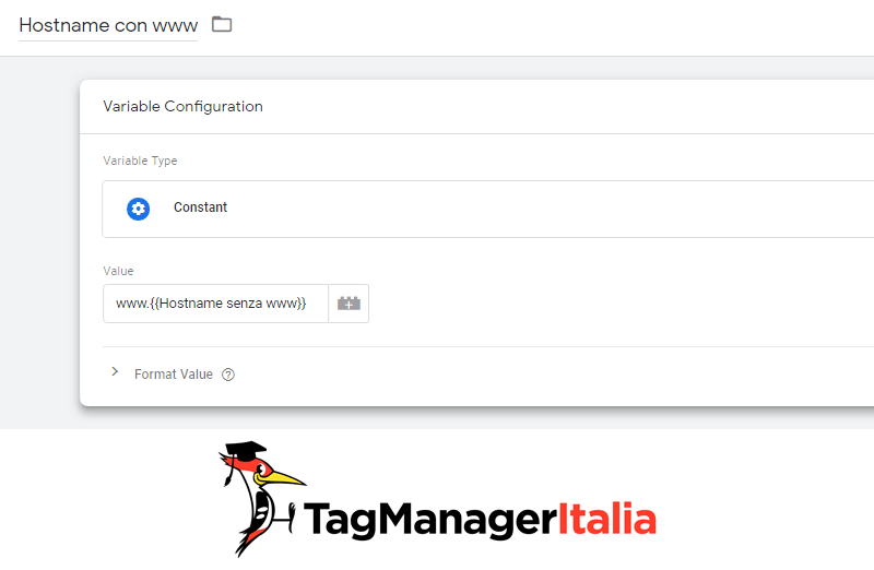 variabile hostname con www google tag manager