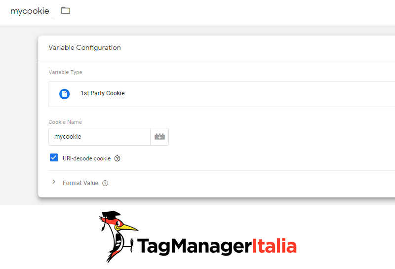 variabile2 creare file cookie google tag manager