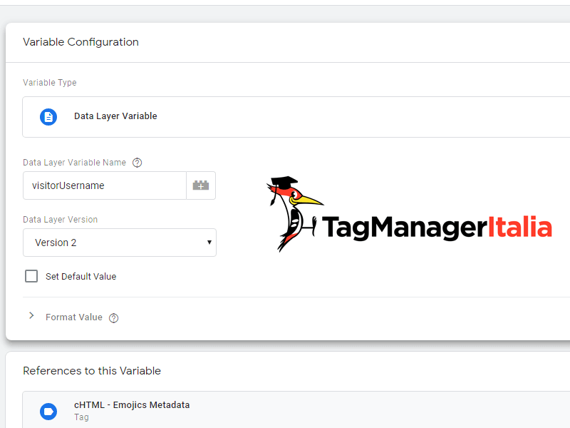 variable visitor username livello dati in google tag manager