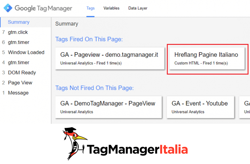 verifica implementare hreflang google tag manager
