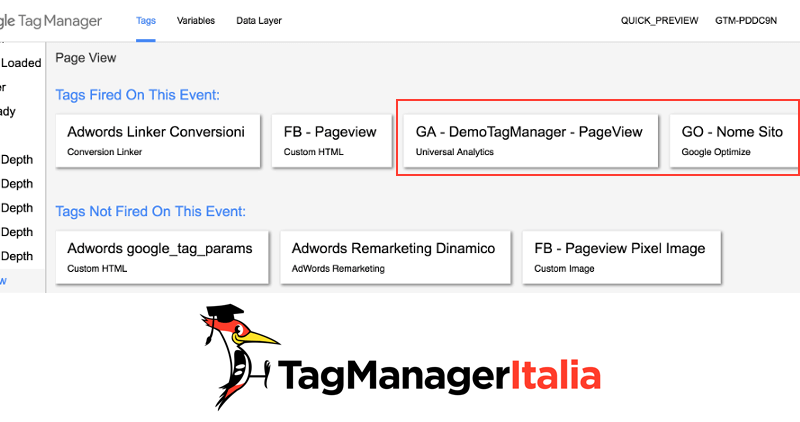 verifica tag google optimize e google analytics google tag manager 1