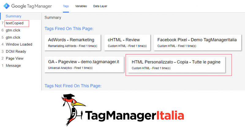 verifica tag tracciare copia testo google tag manager