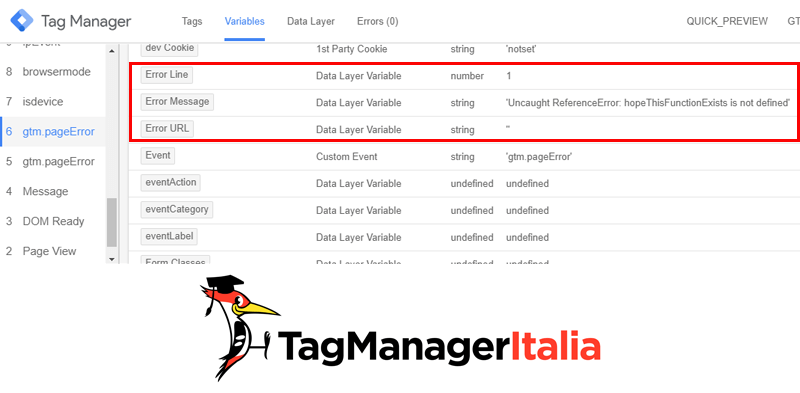 verifica variabili errore javascript di google tag manager