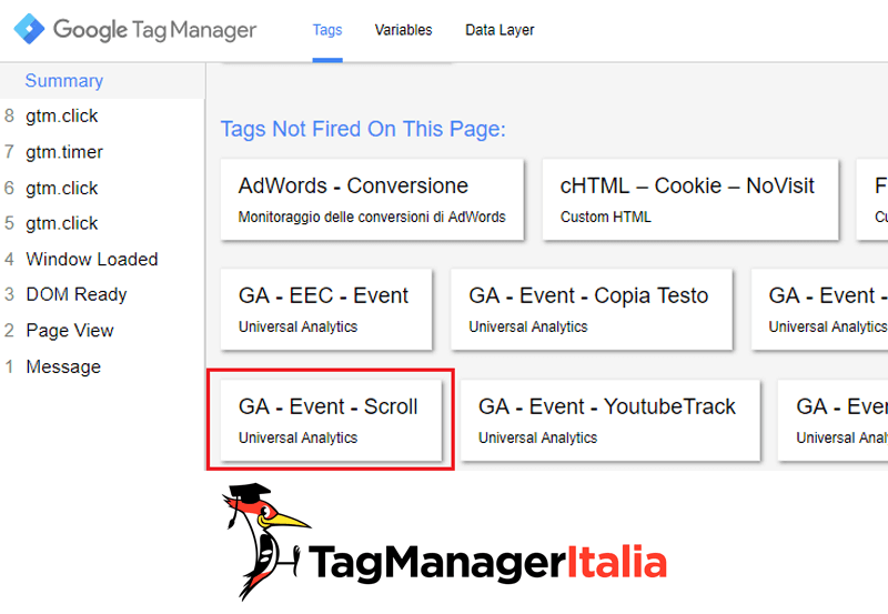 verifica1 tracciare scroll pagina google tag manager