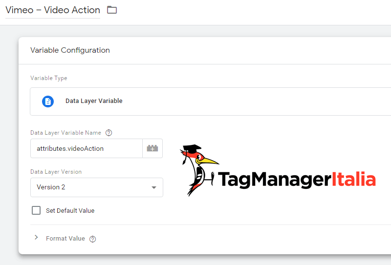 vimeo tracking variabile livello dati google tag manager