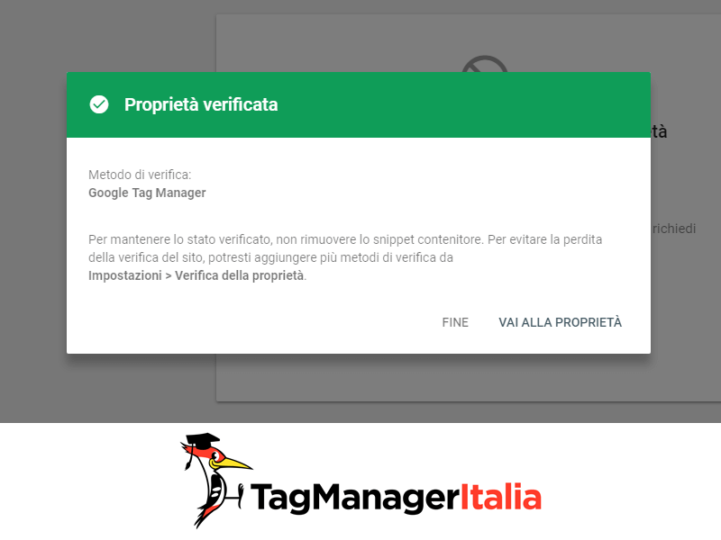 search console proprietà verificata con Google Tag Manager