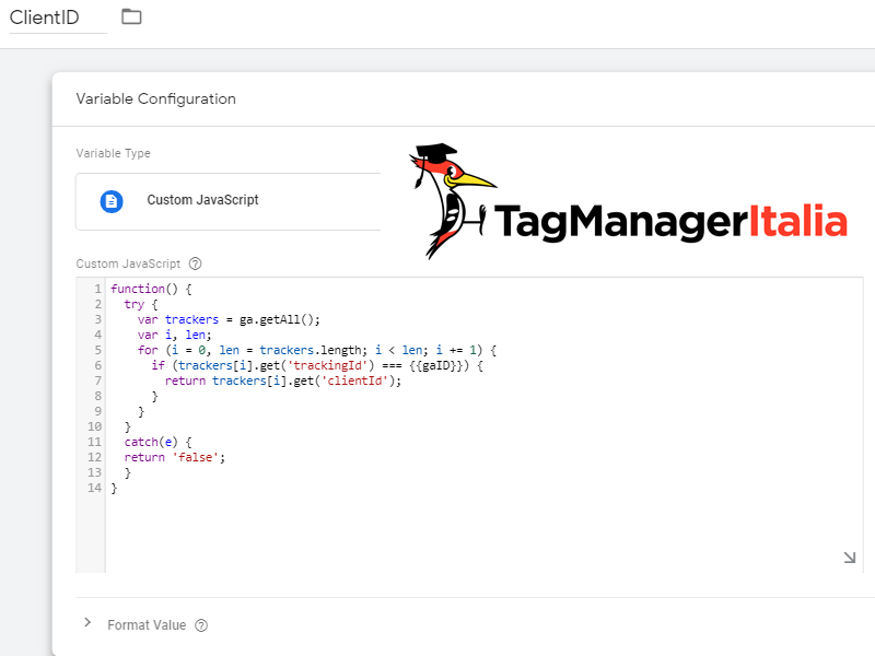 step1 creazione variabile client id google tag manager