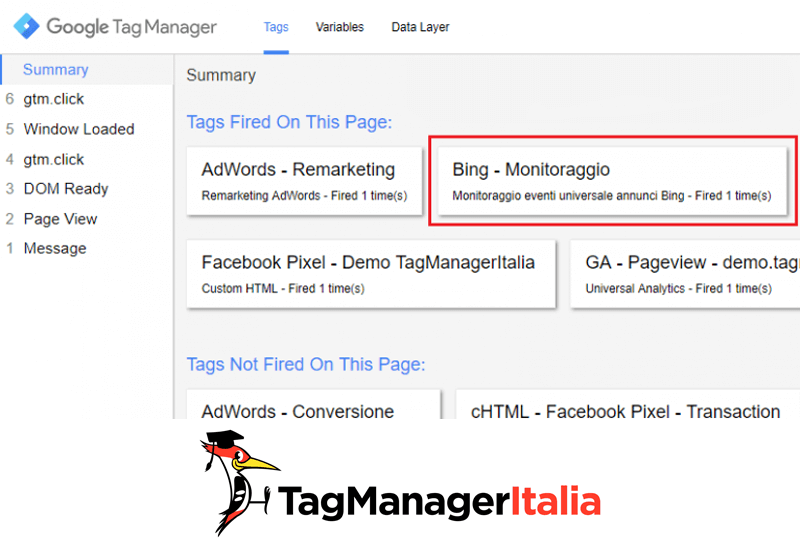 verifica installare snippet bing uet google tag manager