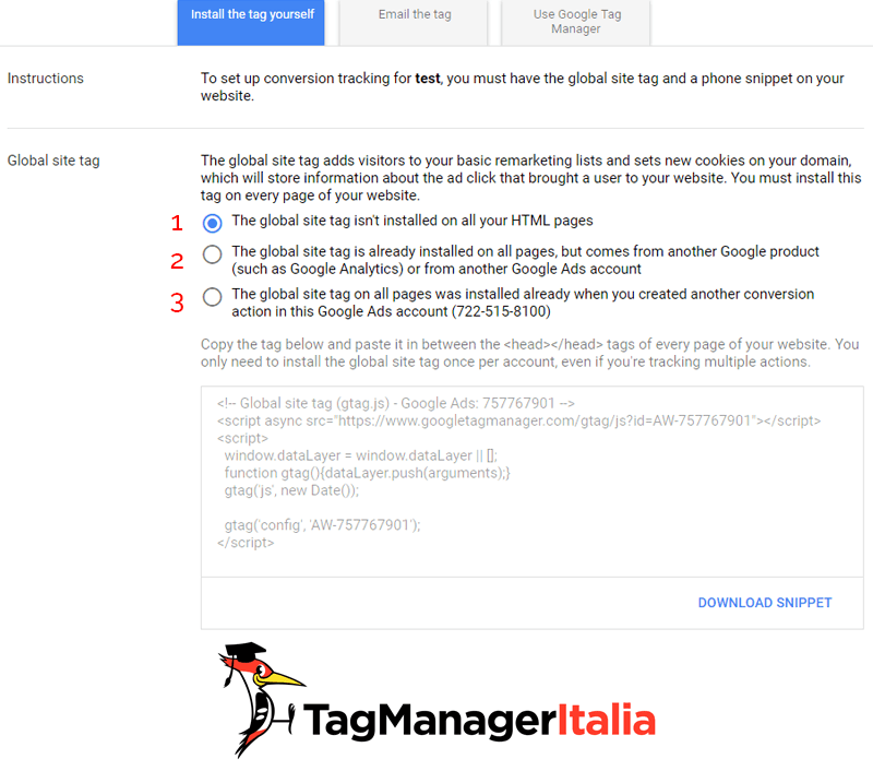global site tag di conversione telefonica a chiamata google ads con Google Tag Manager